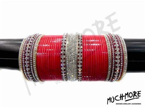 WEDDING DESIGN BRIDAL CHURA RED MAROON CZ WHITE CRYSTAL