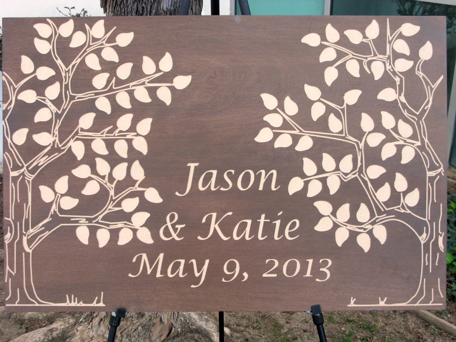 Wooden Guest Book Two Trees -125, 150 signatures