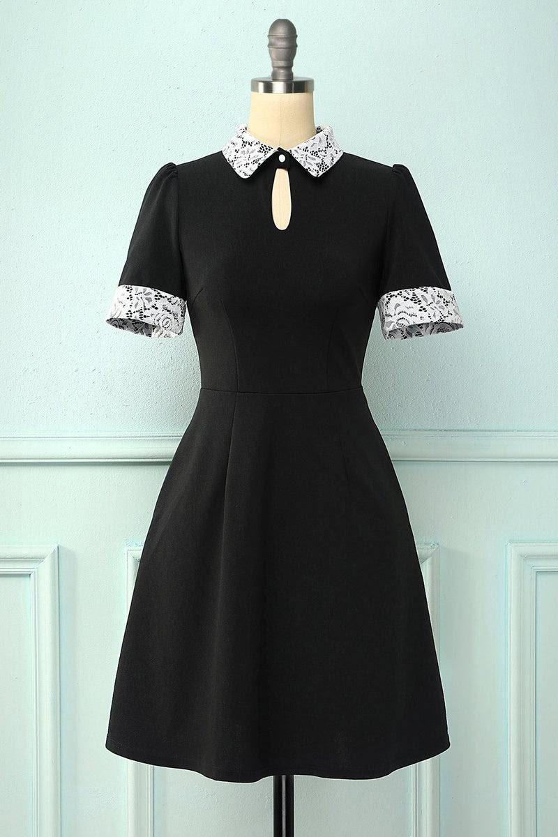 schwarzes kleid mit taschen