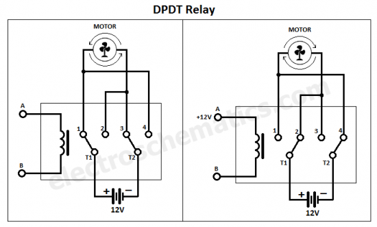 change motor direction with DPDT relay