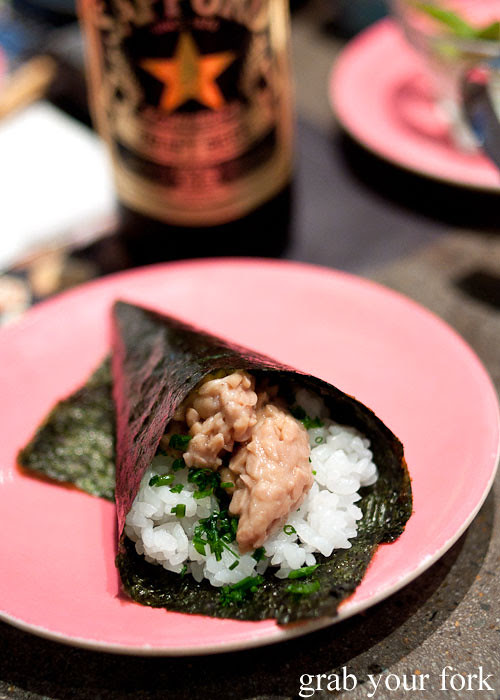 Natto hand roll at Umi Kaiten-Zushi