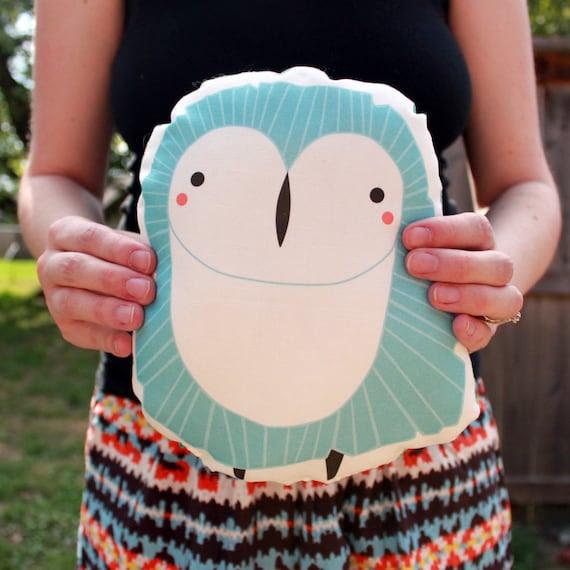 Plush Owl Pillow in Blue