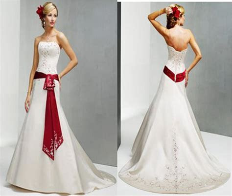 White wedding gown with red bow   color splashed bridal gowns.
