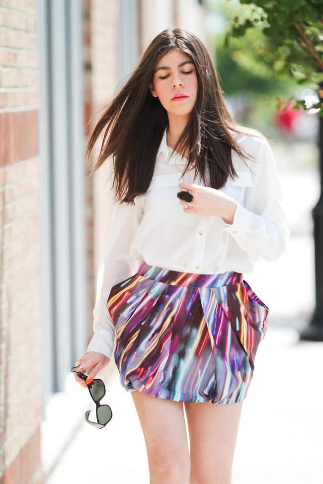 Asos Pumpkin Pumps, Neon Miniskirt, Agate Ring, Fashion Outfit, Silk White Blouse