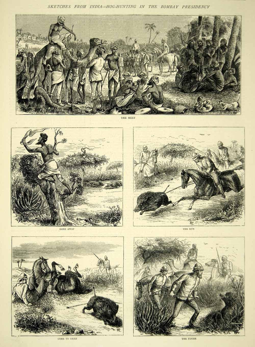 Image result for (WILD BOAR) HUNTING IN BOMBAY 1880