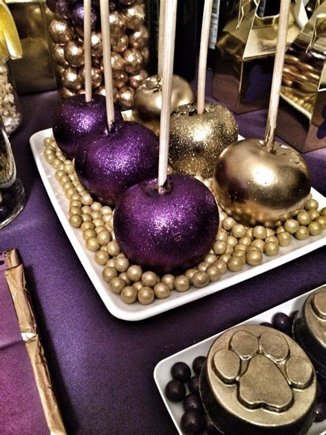 Purple and gold candy apples   Lil Man's Omega party