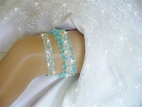 Light Turquoise Blue Wedding Garter Set, Lt. Turquoise