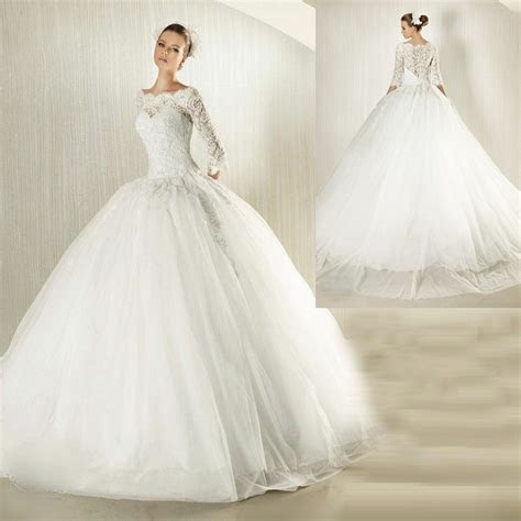 modest long lace sleeves ball gown wedding dress
