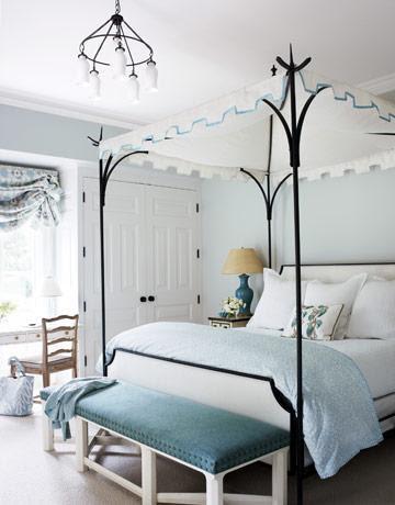 Turquoise Bench - Eclectic - bedroom - Benjamin Moore Pearl Gray ...