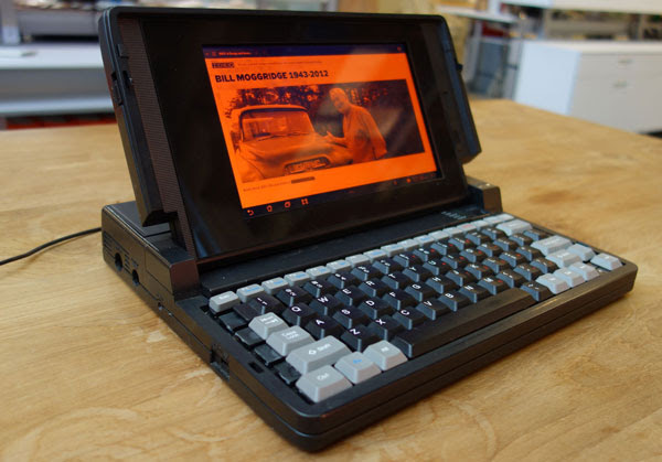 Ideo owners cofounder Bill Moggridge with Galaxy Tabbased GRiD laptop