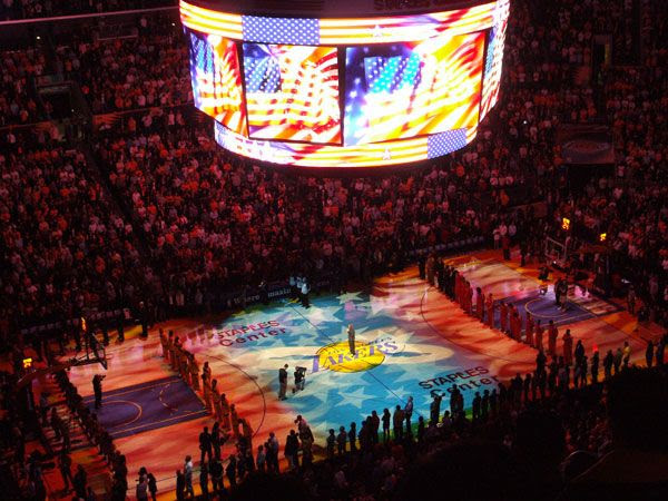 Jeffrey Osborne sings the national anthem before the Lakers game, on October 26, 2010.
