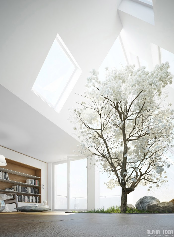Loft space with skylights