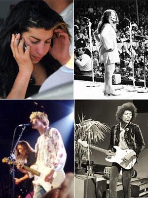 Amy Winehouse, Janis Joplin, Jimi Hendrix e Kurt Cobain, mortos aos 27 (Foto: Wikimedia/AFP)