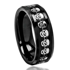 Black Carbon Fiber Skull Symbol Inlay Beveled Edge Ceramic