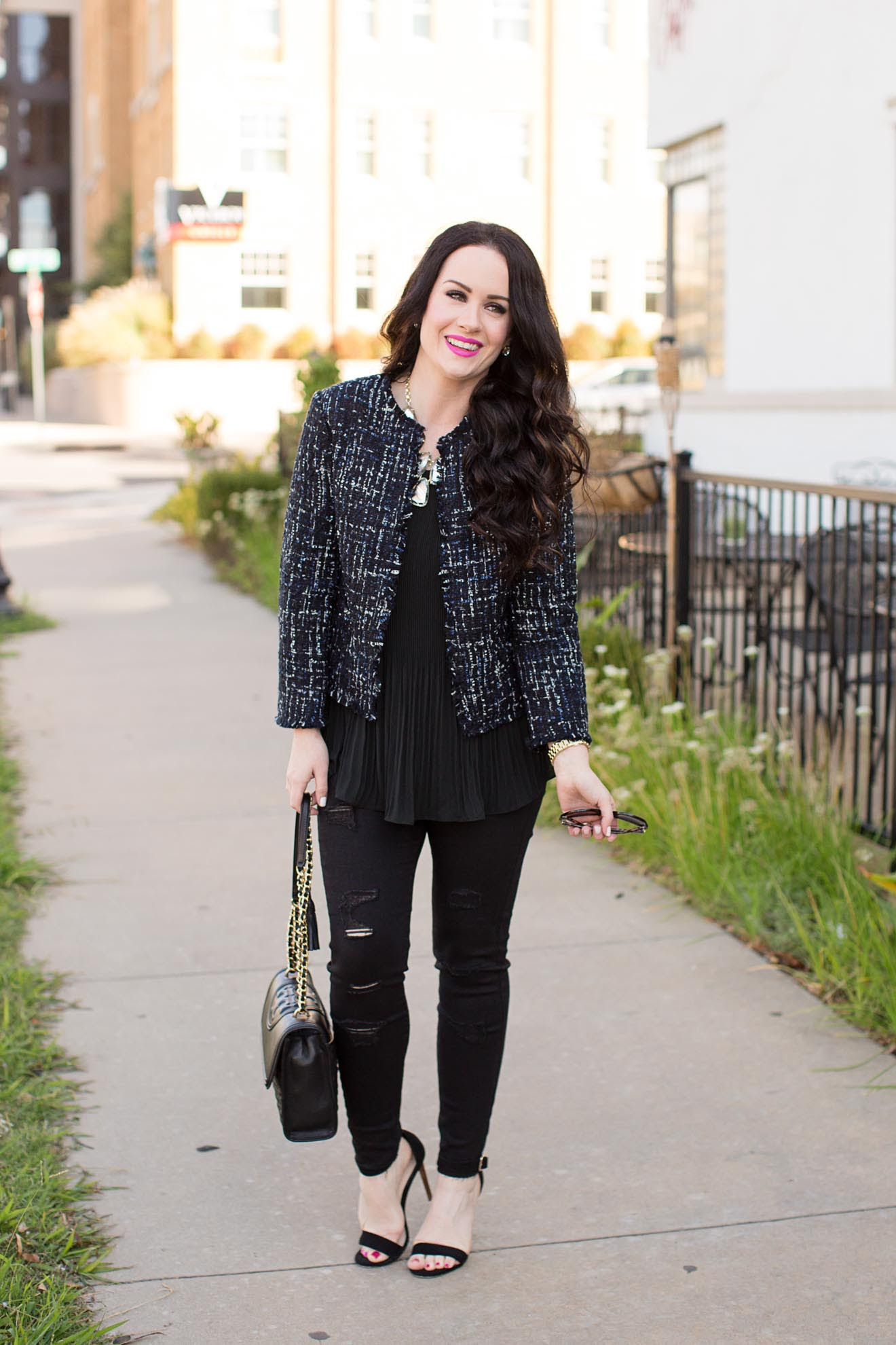 holiday outfit ideas  tweed jacket  black denim  the