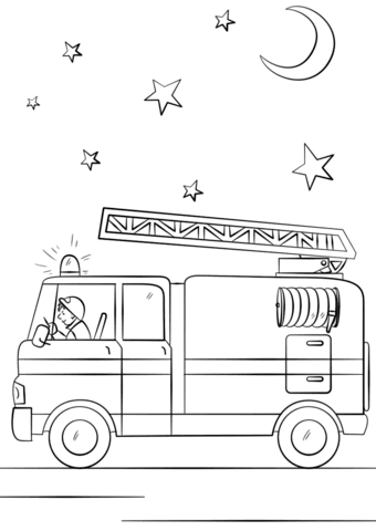 fire truck in action coloring page  free printable