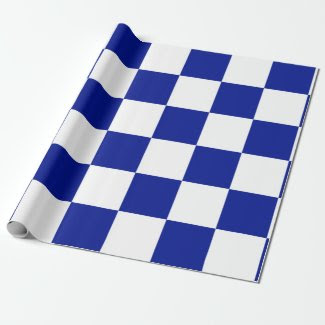 Royal Blue and White Checkered Pattern Wrapping Paper