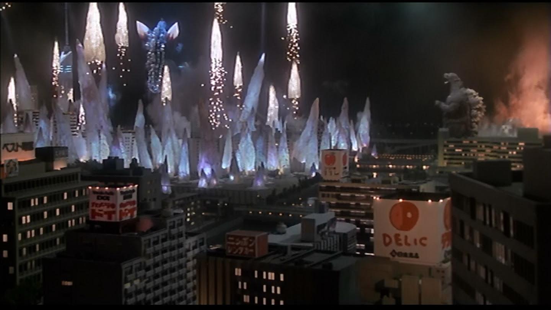 Enlightened Godzilla, levitating above the city.