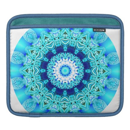 Blue Ice Lace Mandala, Abstract Aqua Sleeves For iPads