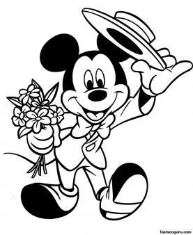 printable disney valentine colorng pages with mickey mouse  printable coloring pages for kids
