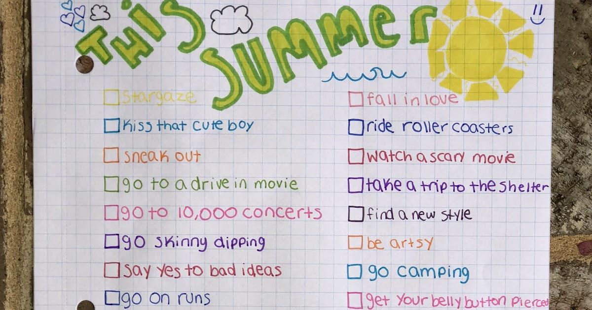 Summer Bucket List 2020.High School Summer Bucket List For Girls School Style