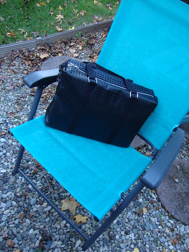 "U-Handbag ""It's a cinch!"" tote with peltex inserted in sides, plastic canvas bottom, and macbook air inside"