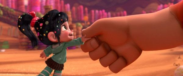 Vanellope (Sarah Silverman) shakes hands with Ralph in WRECK-IT RALPH.