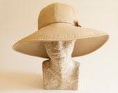 Women Summer hat/ wide brim hat for sun beige / send / camel cotton boho hat with flexible brim hat/ Wedding hat