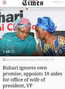 Buhari Ignores Own Promise, Appoints 10 Aides For Office Of Wife Of President, VP