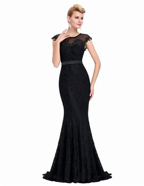 Elegant Sheer Cap Sleeve Long Evening Dress Party Women