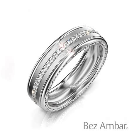 Men's White Gold Wedding Band with Blaze  Devotion