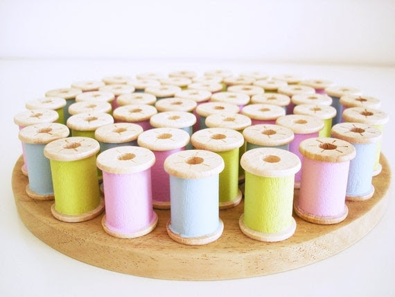 Hand painted wooden hot plate holder/ handmade vintage spools hot pan stand/ Spring colors/ blue green and pink décor for the home