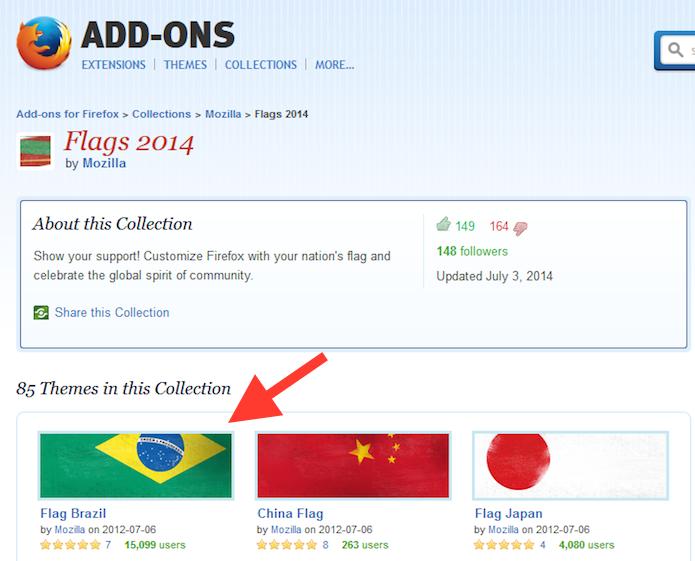 Escolhendo um tema com uma bandeira para o Firefox (Foto: Reprodução/Marvin Costa)