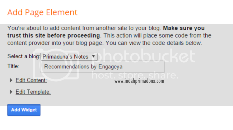 indahprimadona.com, cara membuat link artikel terkait, widget for blog, engageya