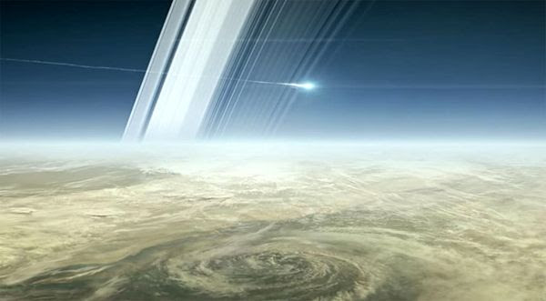 An artist's concept of NASA's Cassini spacecraft entering Saturn's atmosphere to burn up at the end of its mission...on September 15, 2017.