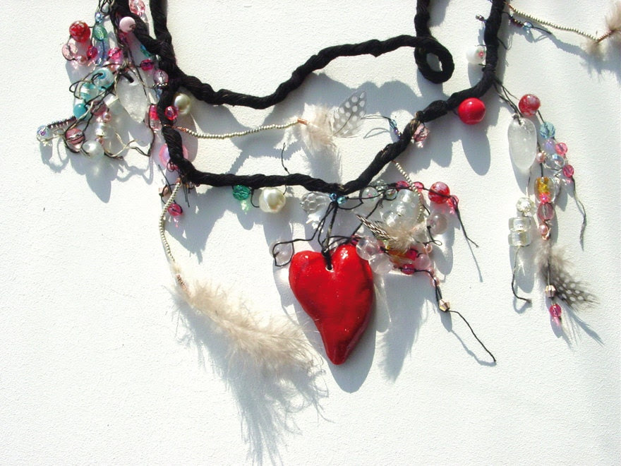 rosary or devotion garland with glass sculptures in shape of heart, a foot and a hand. - SunnyzShop