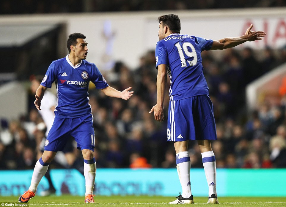 Chelsea pair Diego Costa and Pedro were involved in a heated exchange during afast-paced first half at White Hart Lane