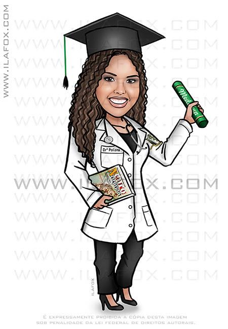 caricatura formanda, caricatura formatura, caricatura beca, caricatura medicina, caricatura by ila fox