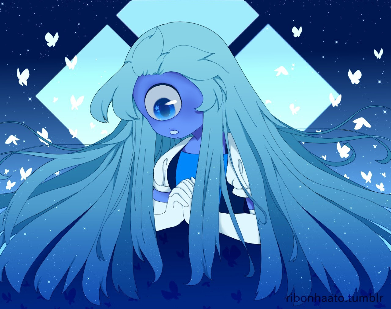 Sapphire with a really long hair