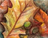 Original Autumn Leaves and Acorns Watercolor  Painting - SharonFosterArt