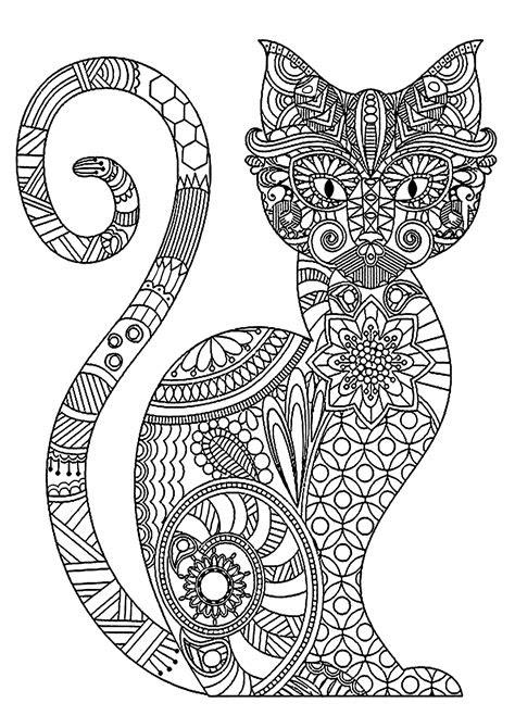 elegant cat  complex patterns cats adult coloring pages