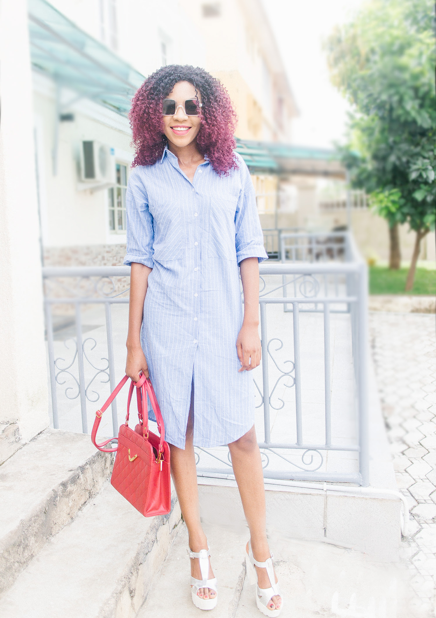 striped shirt dress outfit  weekend outfit inspiration