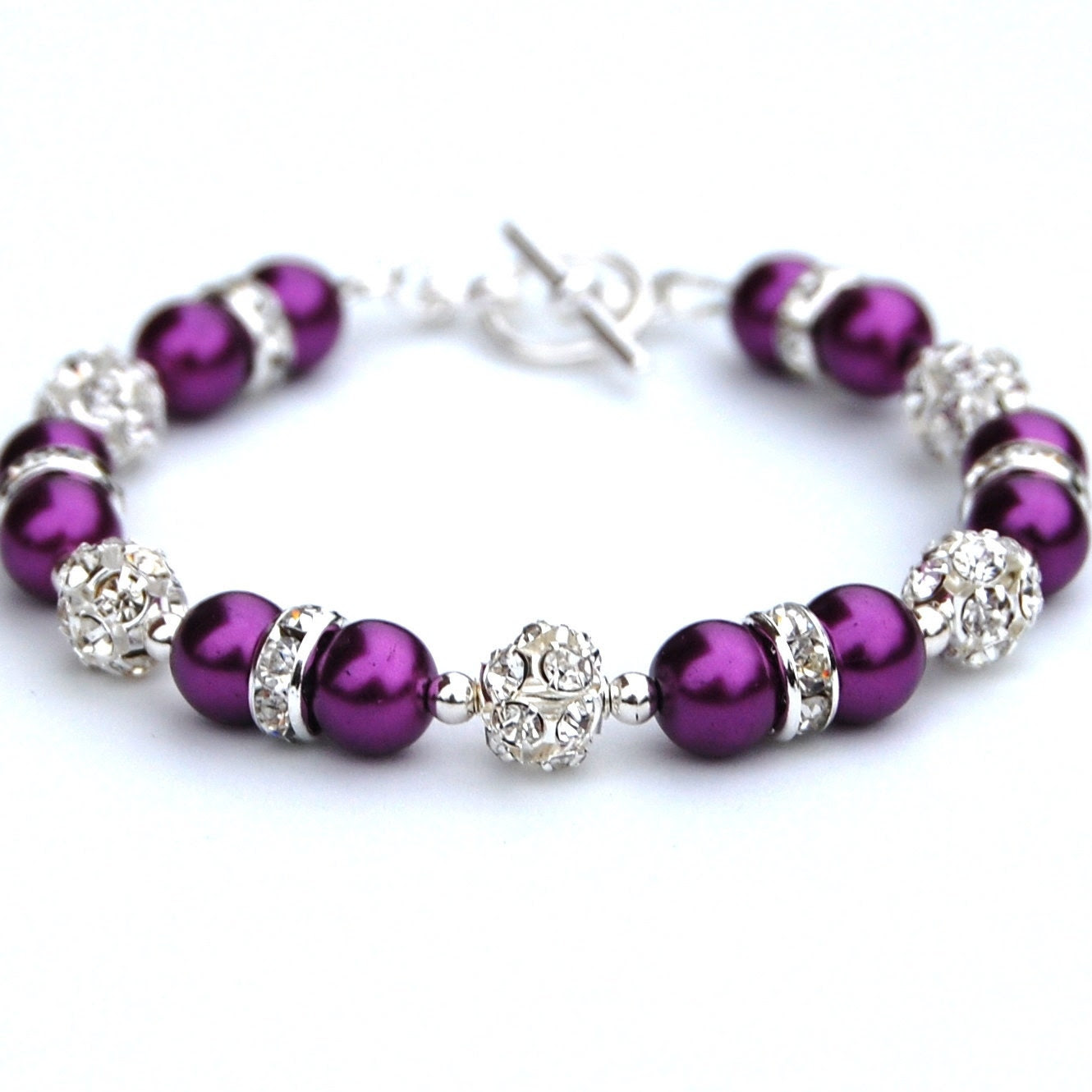 Pansy Purple Pearl Rhinestone Bracelet, Bridesmaid Gifts, Bridal Party, Spring Wedding