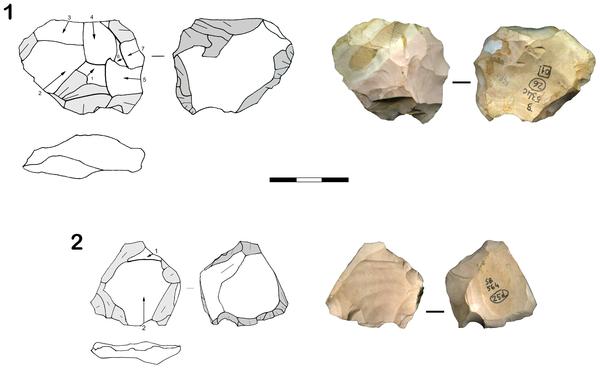 Figura 2 la industria lítica de las unidades estratigráficas más bajos de la Cueva de San Bernardino (Vicenza, Italia).
