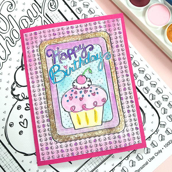 Coloring Page DIY Birthday Card | AllFreePaperCrafts.com