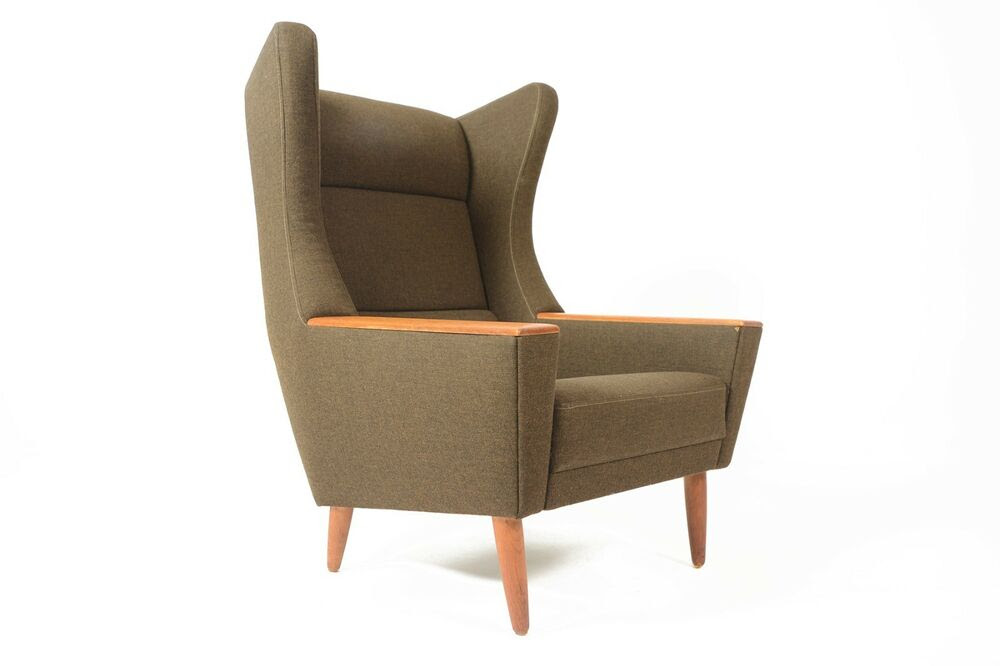 Danish Mid Century Modern Wingback Lounge Chair in Olive ...