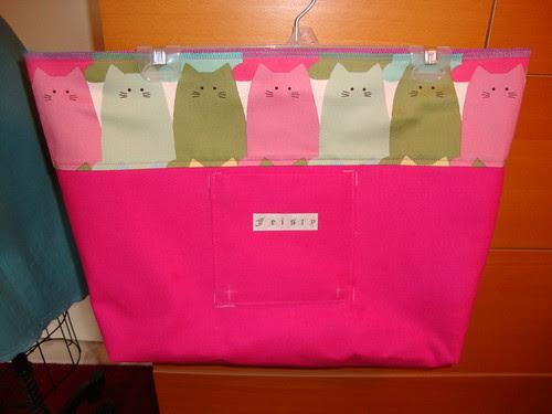 New Look  view E: cat bag in progress.