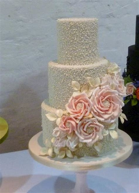 Glittery Pearl 3 Tier Wedding Cake with Cascading Pink