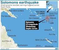 Graphic showing Santa Cruz islands in the Solomons, hit by an 8.0-magnitude quake on Wednesday