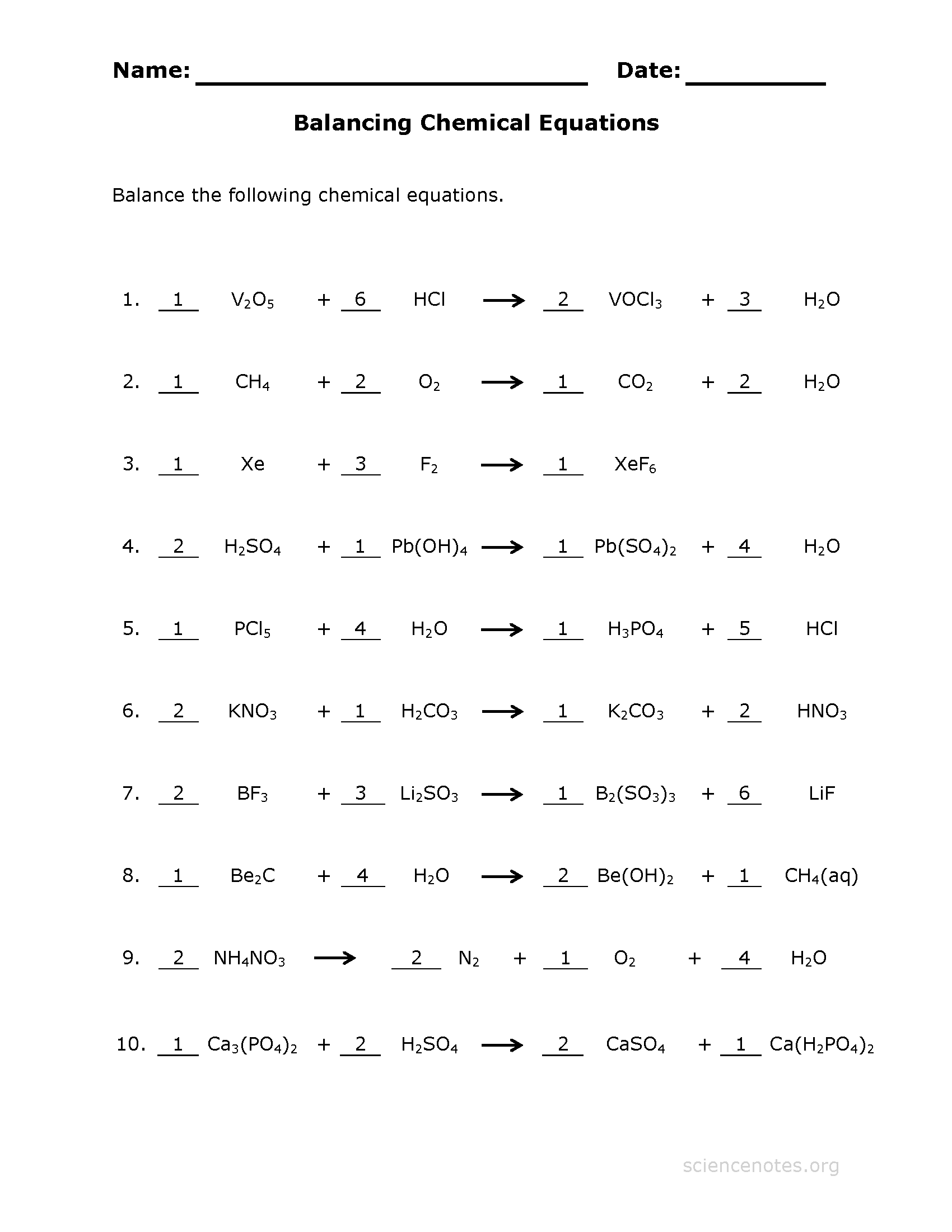 35 Chemical Reaction Worksheet Answer Key - Worksheet ...